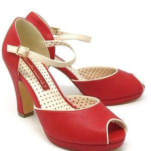 BAIT Red and cream high heel peep toe shoes